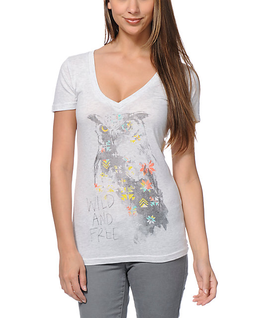 Empyre Wild & Free Heather White V-Neck T-Shirt