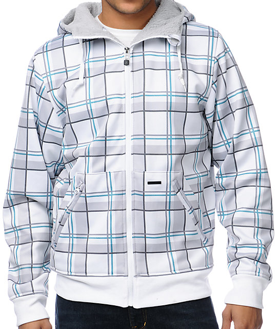 Empyre Willshire White Plaid Tech Fleece Jacket