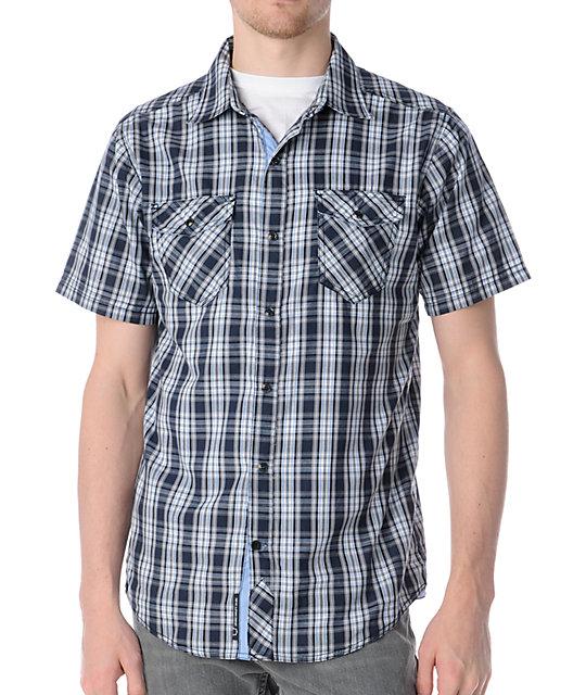 empyre wind cave navy blue button up shirt