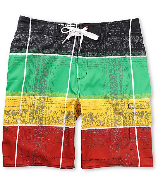 Empyre Yamon Rasta Stripe 4-Way Stretch Board Shorts