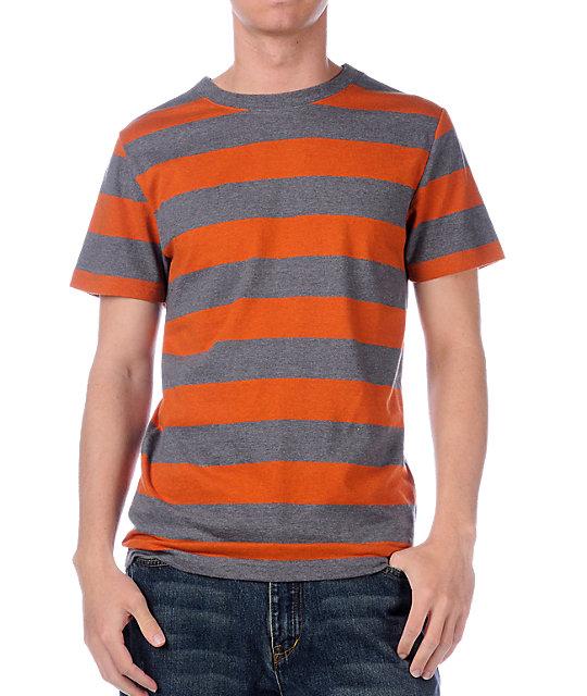 Empyre Yarder Orange & Charcoal Stripe T-Shirt