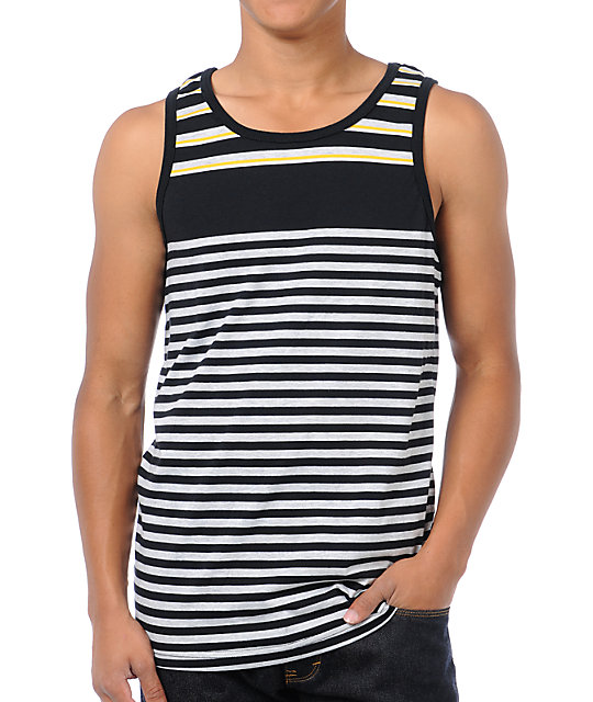 Black and yellow striped womens tank