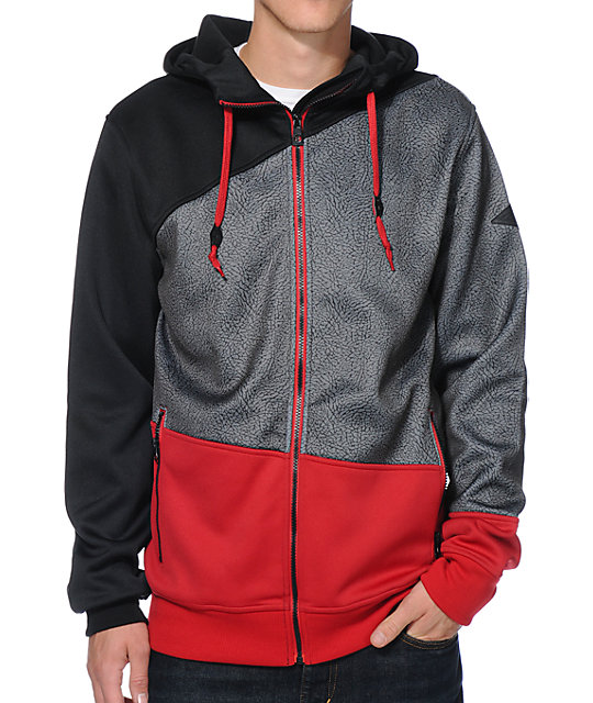 Empyre Yesteryear Black & Red Hooded Tech Fleece Jacket