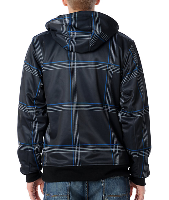 Empyre Younker Black Plaid Sherpa Mens Zip Tech Fleece Jacket