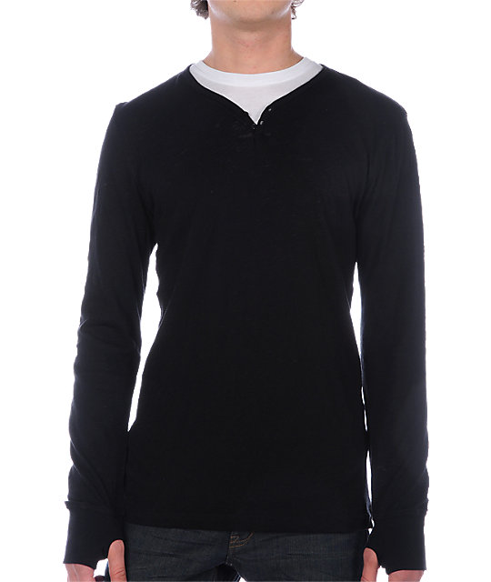 Empyre Zubzero Black Henley Sweater