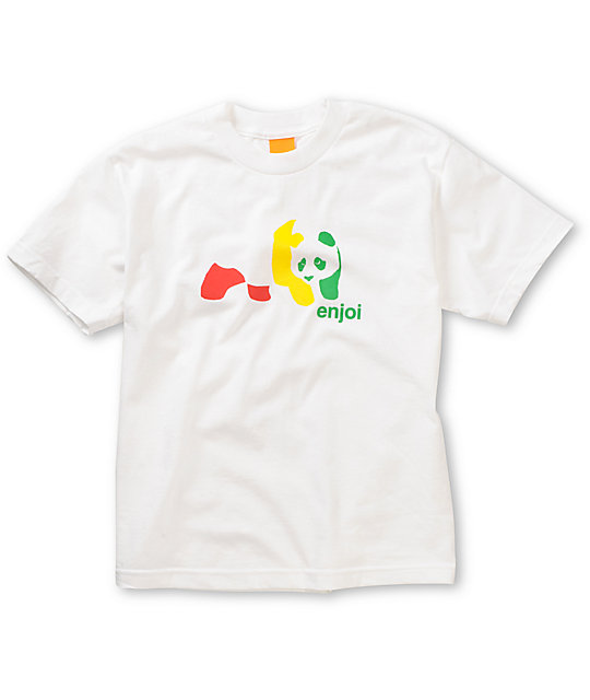Enjoi Boys Rasta Panda White T-Shirt