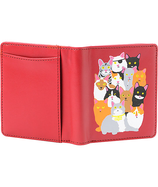Enjoi Cat Collage Red Bifold Wallet