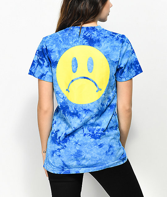 Enjoi Frowny Face Blue Tie Dye T-Shirt