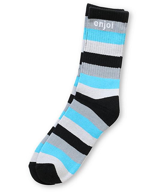 Enjoi Full Stripe Black & Blue Crew Socks