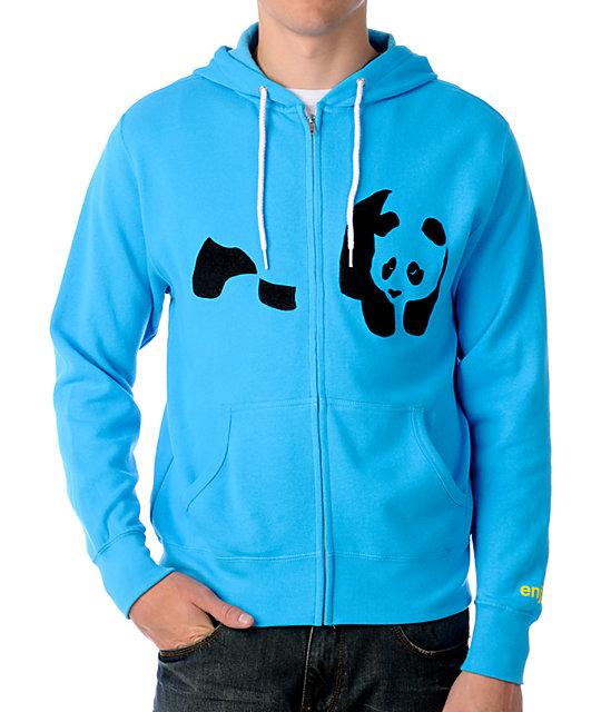 Enjoi Fuzzy Panda Turquoise Hoodie