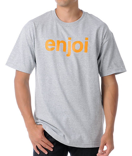 Enjoi Helvetica Grey & Orange T-Shirt