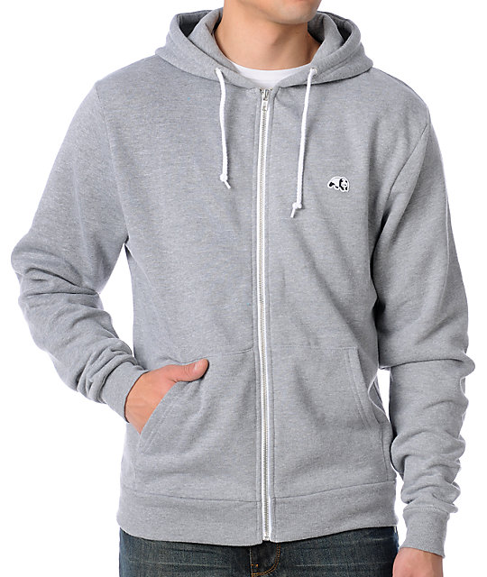 Mens Panda Solid Grey Zippered Zip Up Hoodie