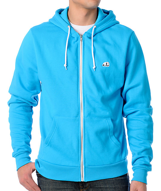 Enjoi Mens Panda Solid Turquoise Zippered Zip Up Hoodie