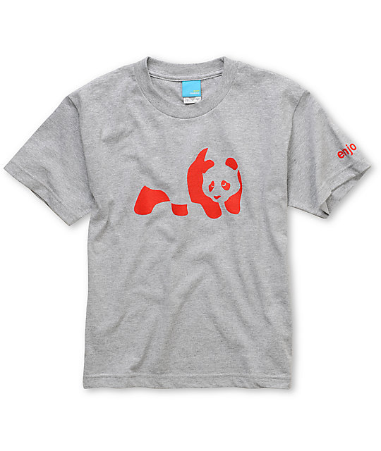 Enjoi Panda Boys Heather Grey & Red T-Shirt
