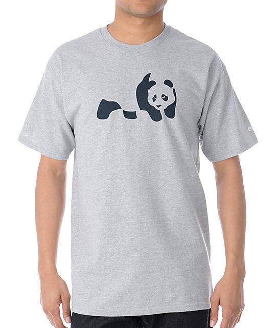 Enjoi Panda Heather Grey & Navy T-Shirt