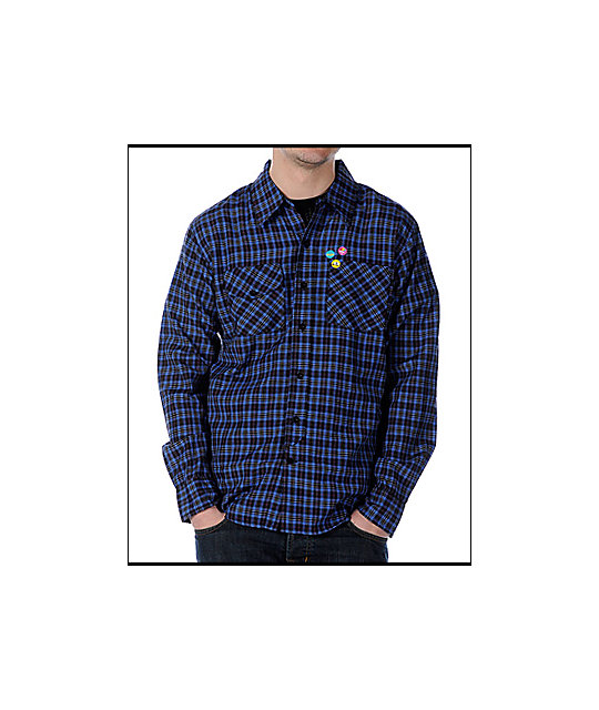 Enjoi Score Blue Long Sleeve Woven Shirt