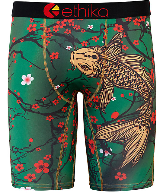 Ethika koi blossom green boxer briefs for Green koi fish for sale