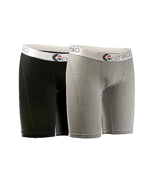 Ethika The Staple 2-Pack Grey & Black Boxer Briefs