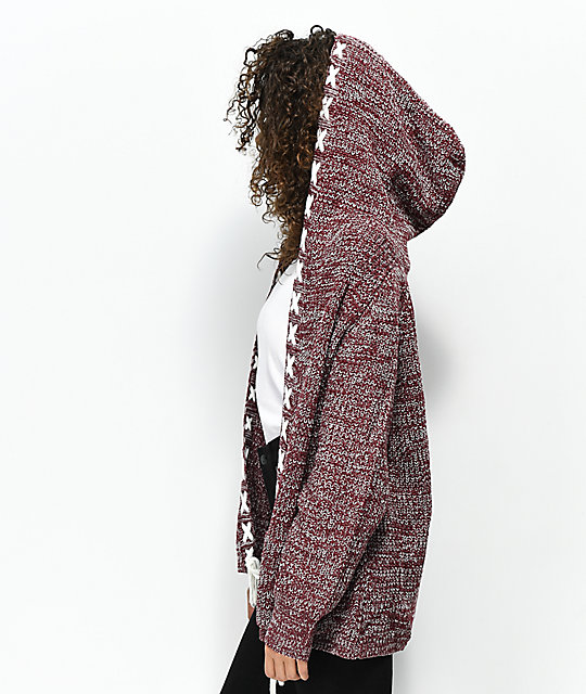 Ethos Lady Burgundy Hooded Cardigan | Zumiez