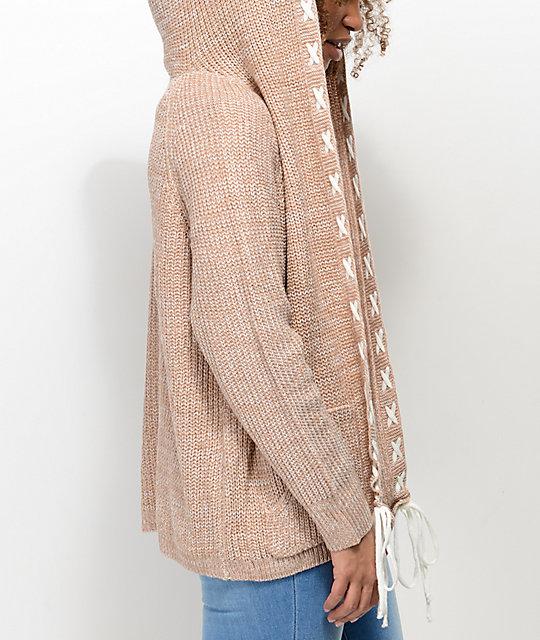 Ethos Lady Taupe Hooded Cardigan | Zumiez
