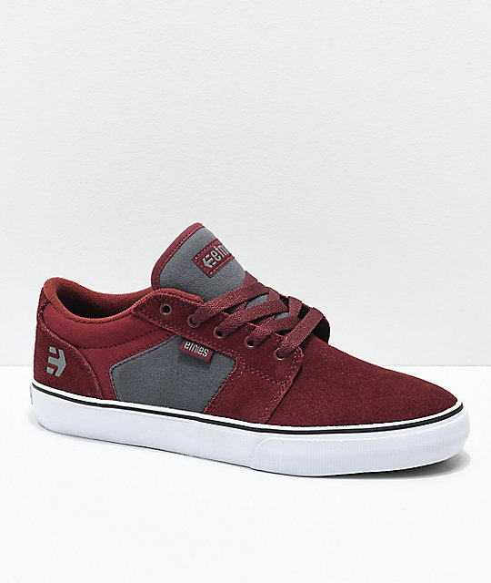 Etnies Barge LS Burgundy & Grey Skate Shoes