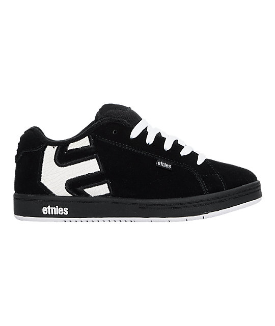 Etnies Boys Fader Black, White & Royal Plaid Skate Shoes