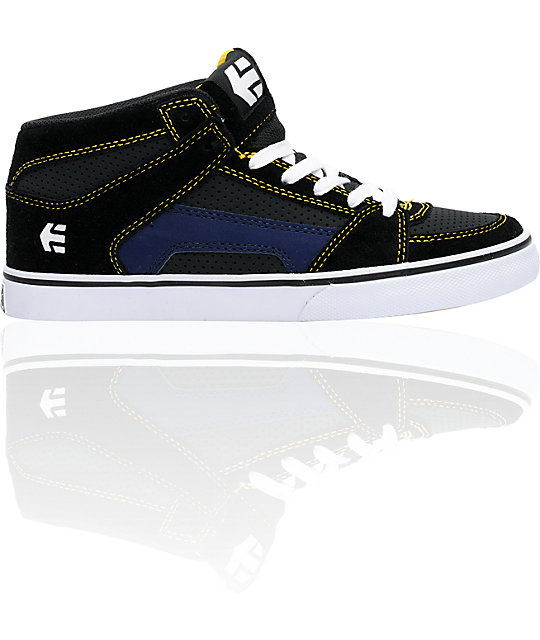 Etnies Boys RVM Vulc Black, Grey, & Blue Shoes