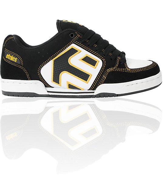 Etnies Charter Black, White & Gold Skate Shoes