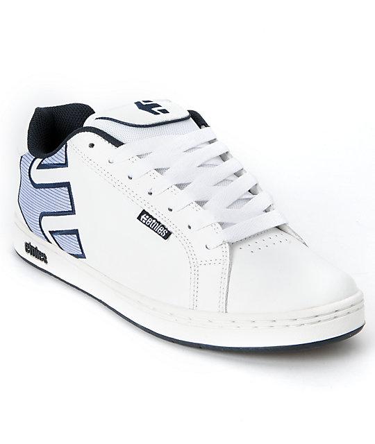 Etnies Fader White & Blue Skate Shoes