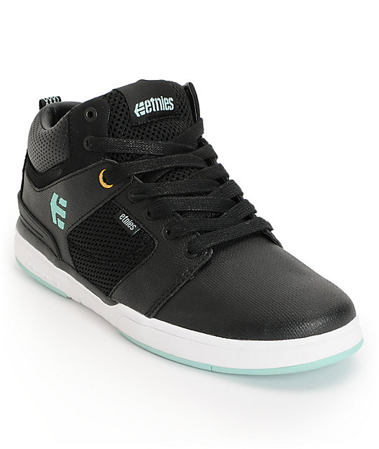 Etnies High Rise Black, White, & Turquoise Leather Skate Shoes