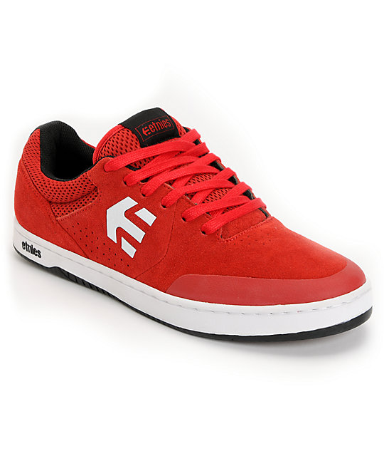 Etnies Marana Red & White Suede Skate Shoes