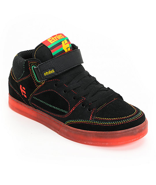 Etnies Number Mid Black & Red & Yellow & Green Skate Shoes