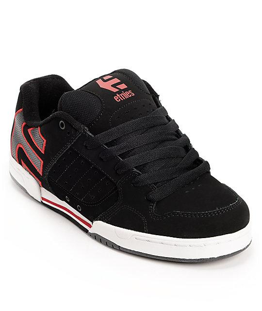 Etnies Piston Black, Red, & White Skate Shoes