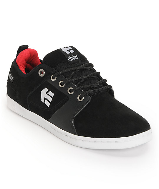 Etnies Verse Black, White, & Red Suede Skate Shoes