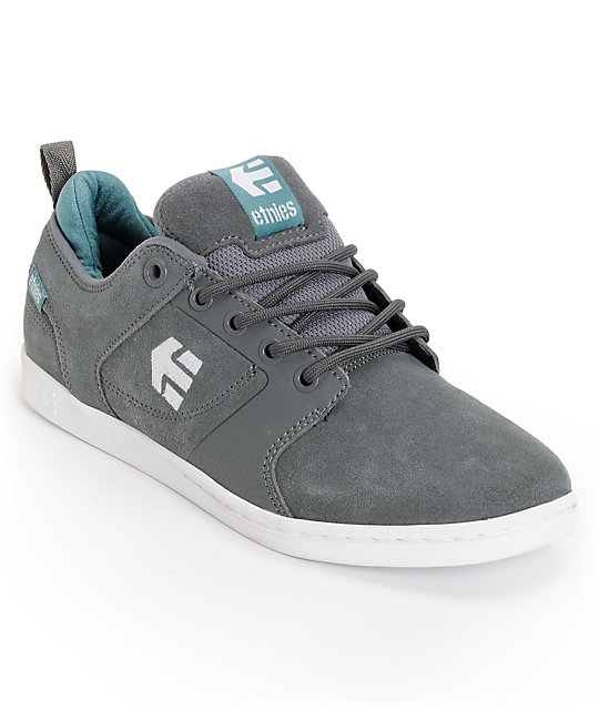 Etnies Verse Grey & Teal Suede Skate Shoes