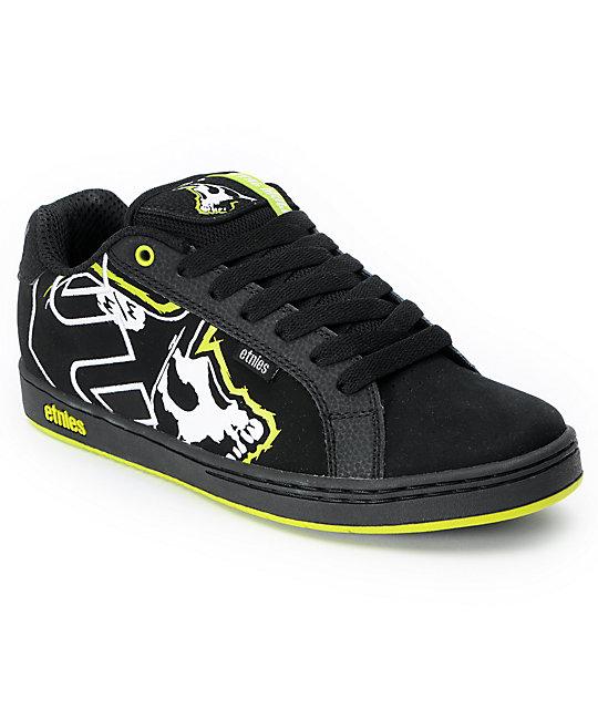 etnies x metal mulisha fader black lime skate shoes zumiez