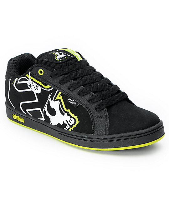 etnies x metal mulisha fader black lime skate shoes