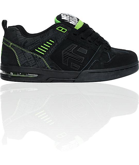 etnies x metal mulisha kontra black lime skate shoes