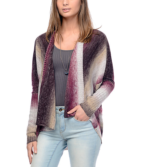 Eyeshadow Callie Ombre Burgundy Stripe Sweater