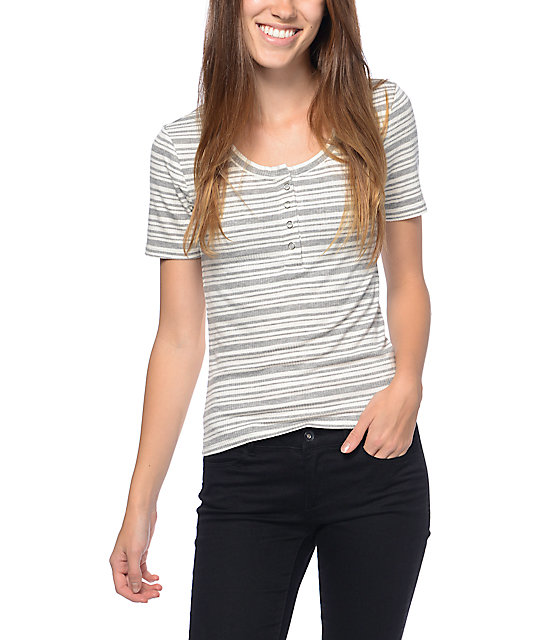 Eyeshadow Striped Shrunken White & Grey Henley T-Shirt