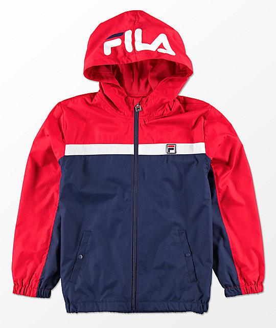 FILA Boys Red, White & Blue Hooded Windbreaker Jacket | Zumiez