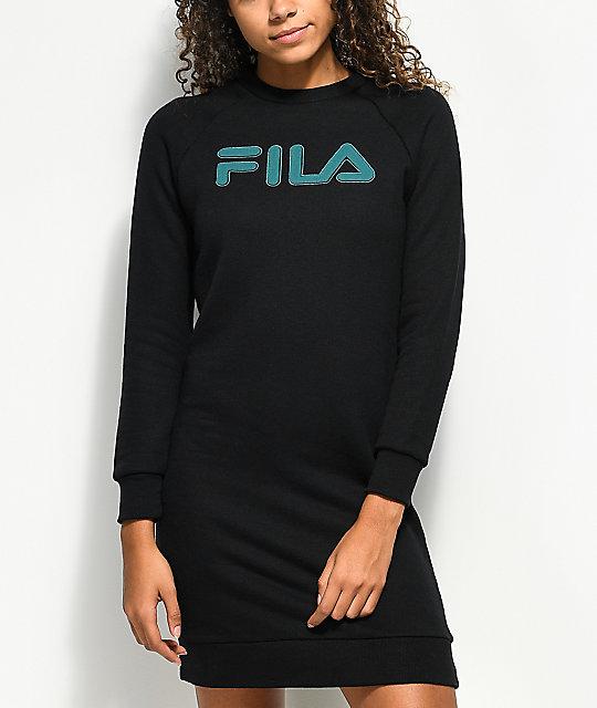fila long sleeve dress. fila courtney black sweater dress fila long sleeve