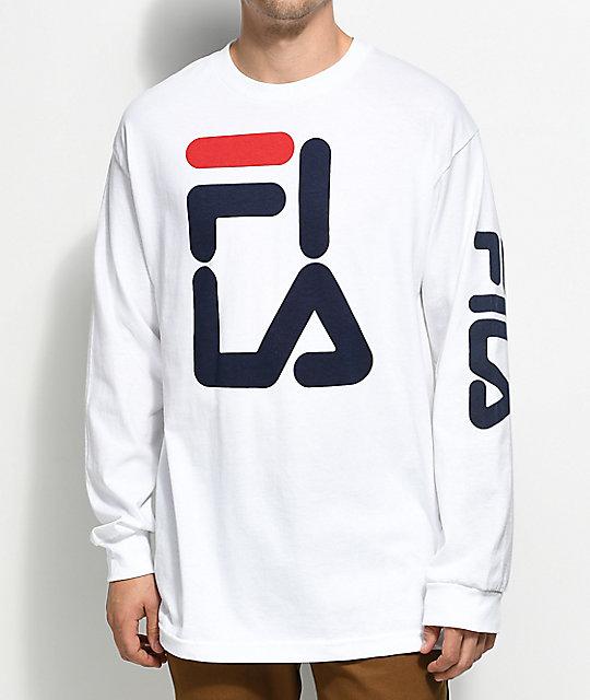 fila long sleeve. fila logo white long sleeve t-shirt fila zumiez
