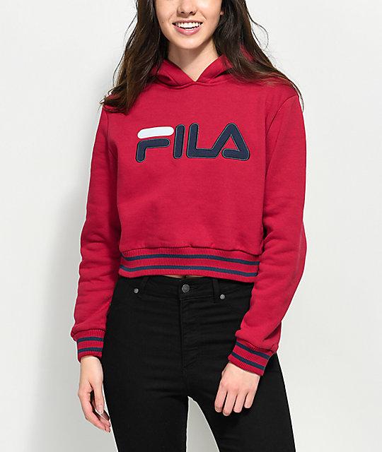 fila pink hoodie. fila penelope burgundy cropped hoodie fila pink