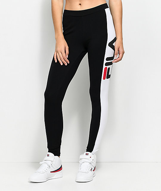 FILA Side Stripe Black & White Leggings