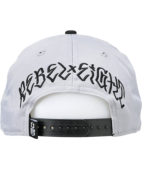 FMS x Rebel 8 Taking Names Grey & Black New Era Snapback Hat