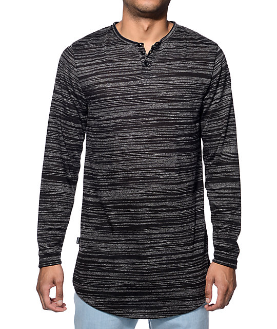 Fairplay ellison black marled long sleeve henley t shirt for Black long sleeve henley shirt