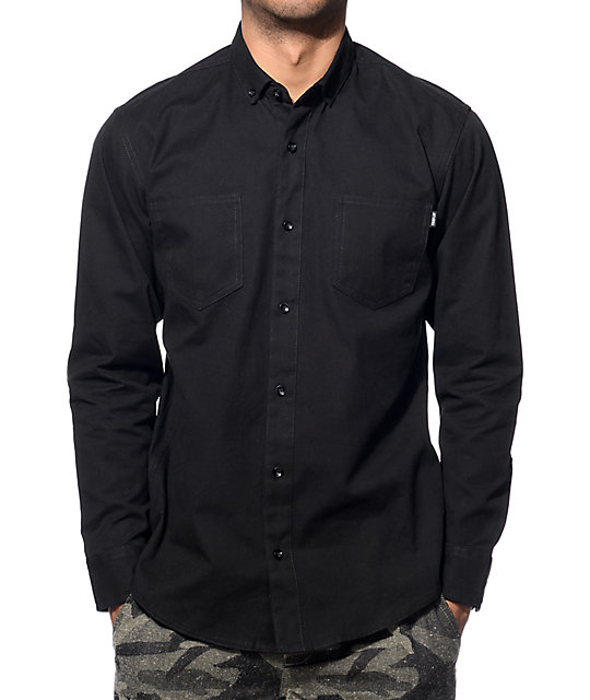 Kamdon Black Long Sleeve Button Up Shirt