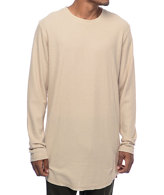 Fairplay Marcello Thermal Tan Elongated Long Sleeve Shirt at ...