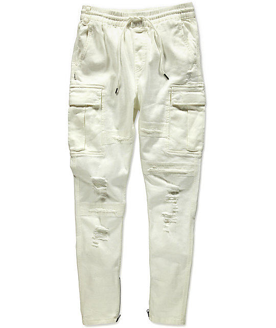 Cargo Pants Trousers from Off-White: Black-White Cargo Pants Trousers with drawstring on waist, buckle fastening, patch pockets, elasticated cuffs and regular length. Composition: 60% Cotton, 25% Polyamide, 15% Polyurethane more.